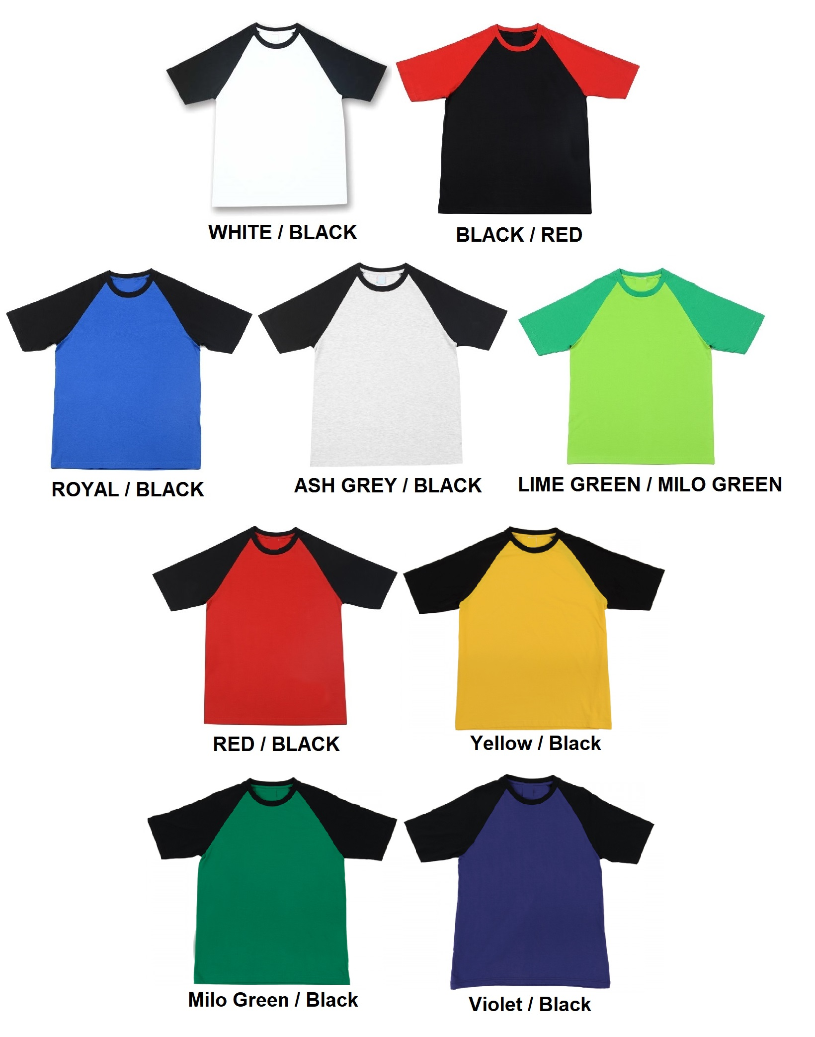 Cotton Round Neck T-Shirt (2-tone)