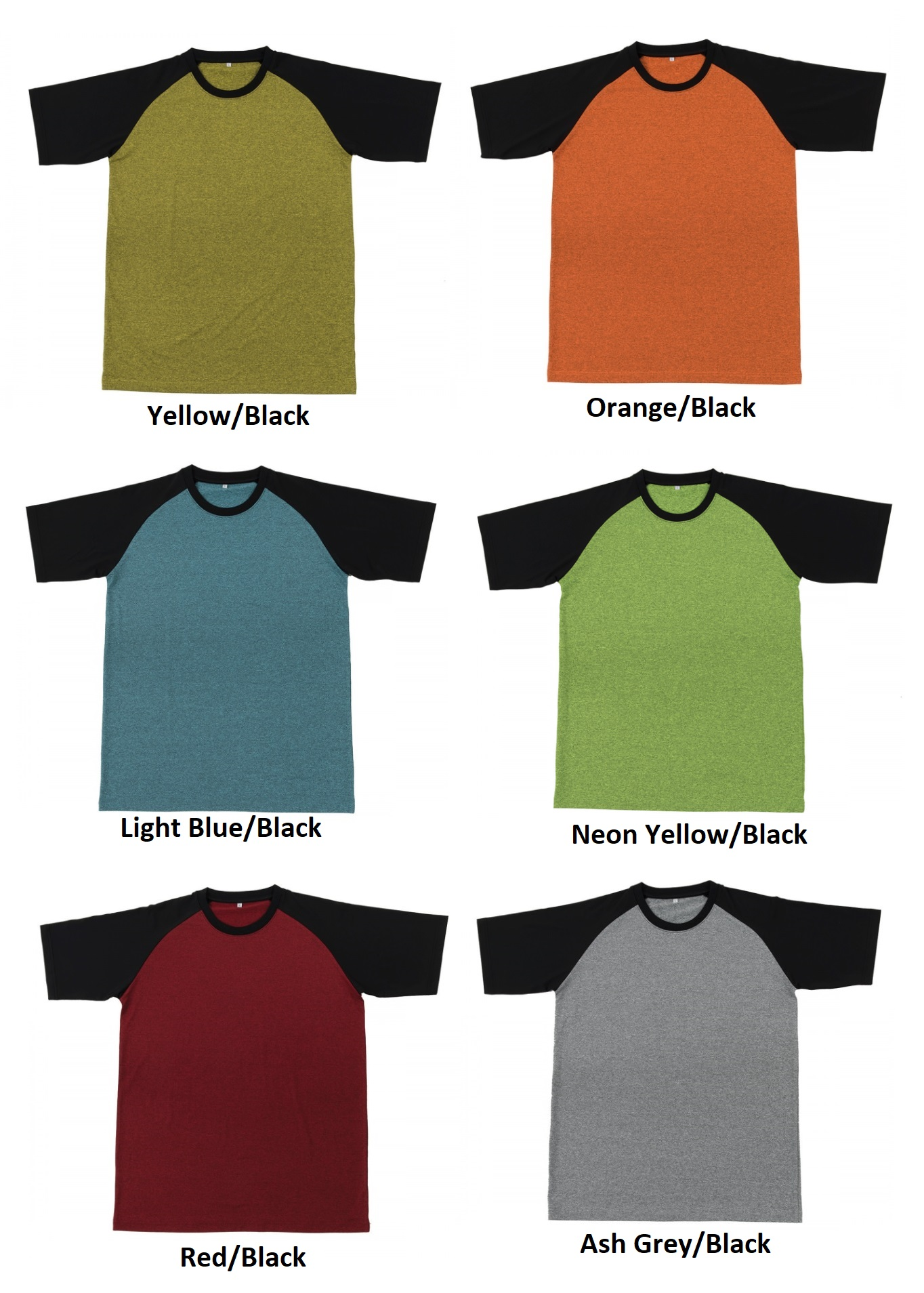 Quick Dry Round Neck T-Shirt (2-tone)