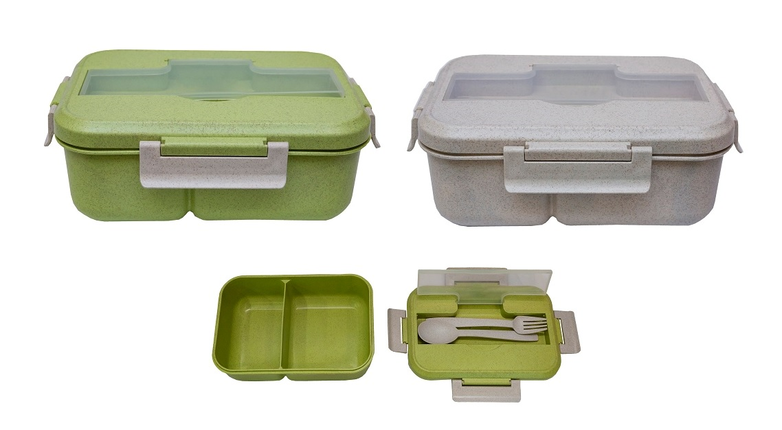 Wheat Fiber Lunch Box with Fork & Spoon (Design A)