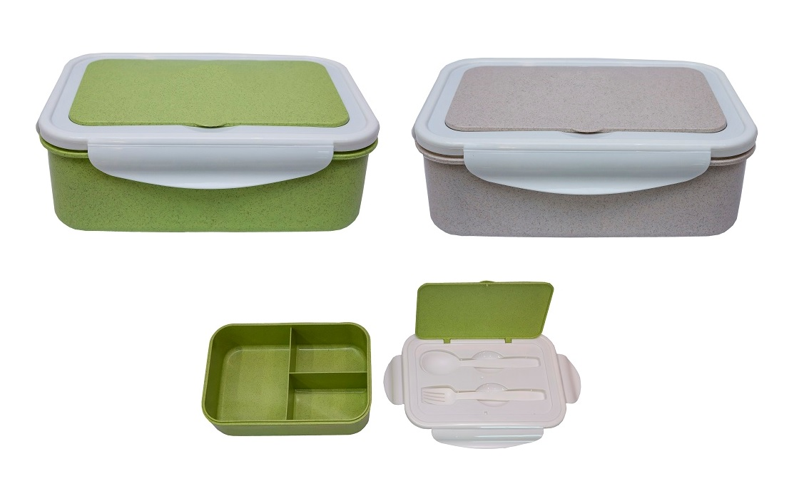 Wheat Fiber Lunch Box with Fork & Spoon (Design B)