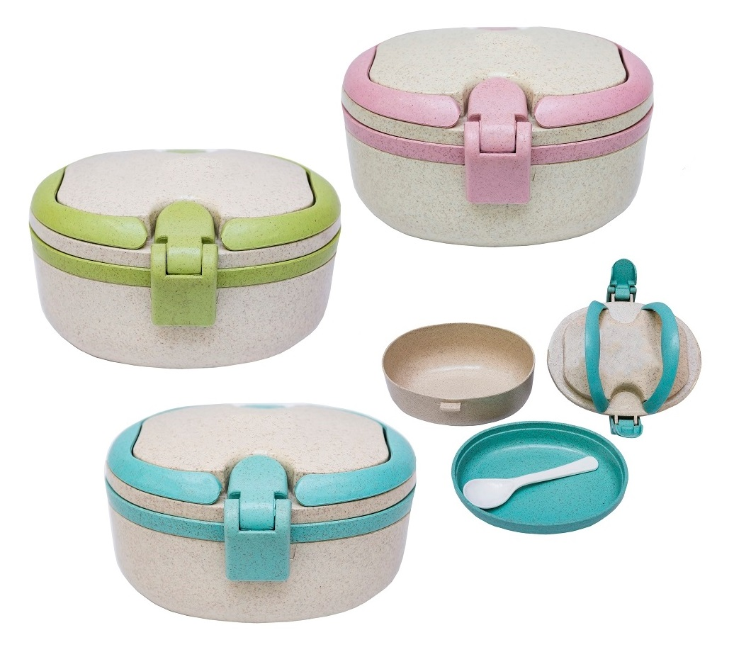1-tier Wheat Fiber Lunch Box with Spoon