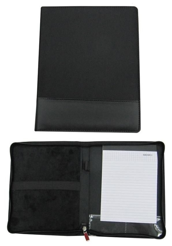 Black A5 size Zipper Microfibre Portfolio with Notebook