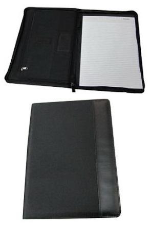 Black A4 size Zipper Mircofibre Portfolio with Notepad