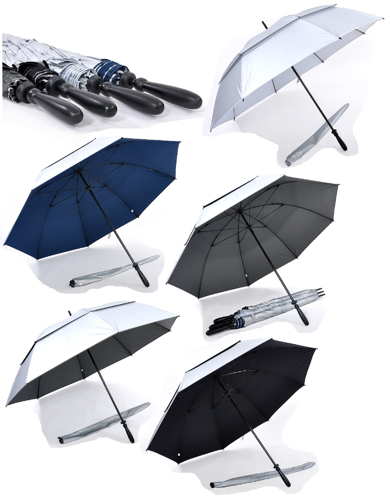 30inch Full Windproof Golf Umbrella with UV coating on exterior panels